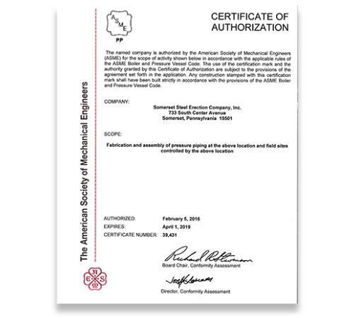 ASME Pressure Piping (PP) Certified