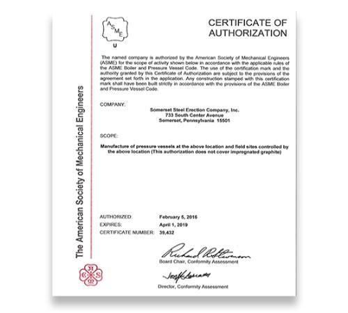 ASME U Certified